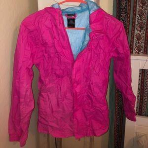 pink north face rain jacket
